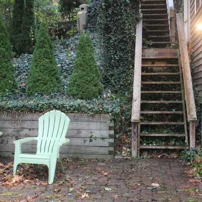 Stair leading to patio at Summer Ice Cottage on Keuka Lake